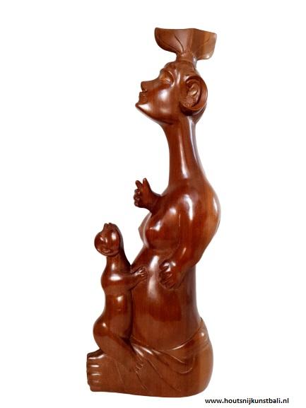 I Ketut Djamperah Bali art deco wood carving Mother and child