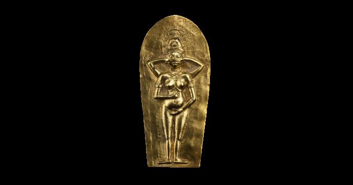 Gouden godenbeeldje. Java, Indonesië. Circa 1200 - 1500 na Chr.