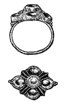 ali-ali sotja lima: gouden balinese ring. zij- en boven aanzicht.
