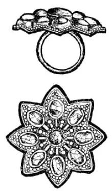 gouden ring uit bali. zij- en bovenaanzicht. Genaamd ali-ali tetoendjoegan.