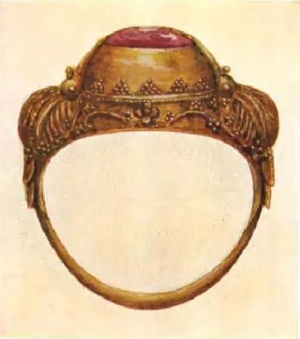 Gouden ring bali ali-ali sekar tjina. Bezet met robijn.