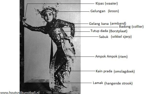legong dance costume parts