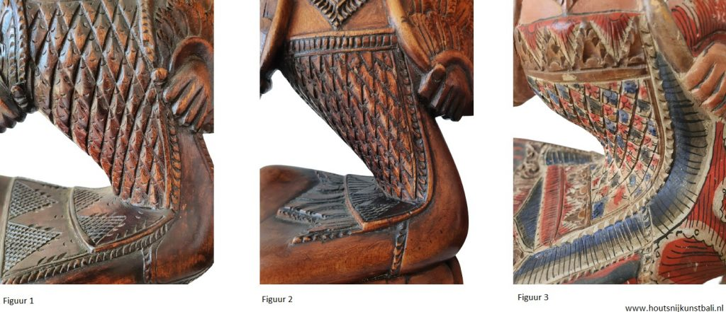 bali art deco wood carving legong dancers clothing close up
