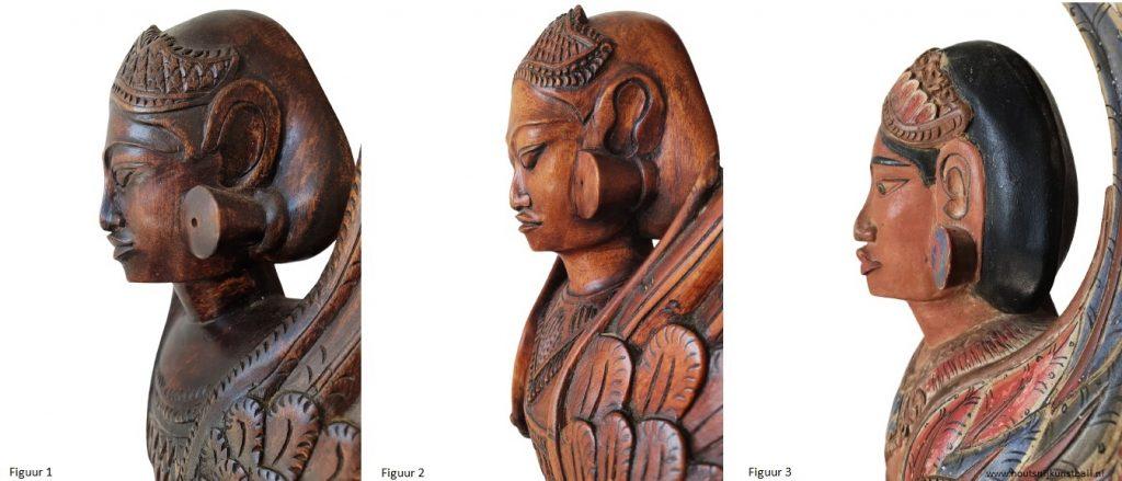 art deco balinese dancers face close up wood carving